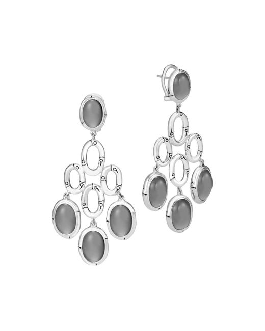 John Hardy   Metallic Sterling Silver Bamboo Chandelier Earrings With Grey Moonstone   Lyst