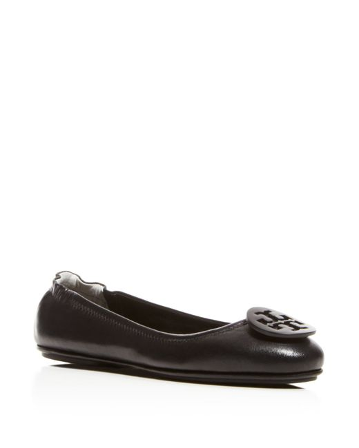Tory Burch | Black Minnie Travel Ballet Flats | Lyst