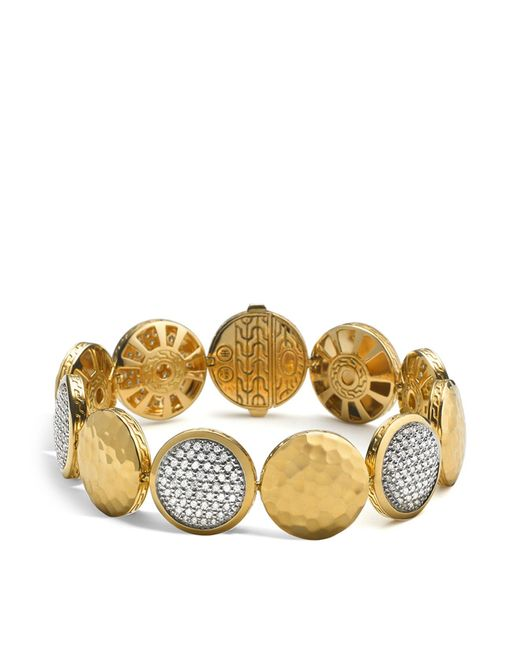 John Hardy | Metallic Palu 18k Gold Diamond Pavé Five Disc Station Bracelet | Lyst