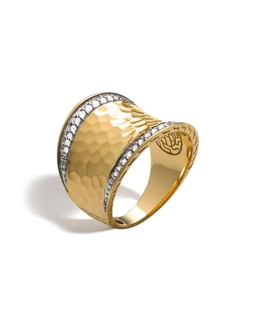 John Hardy | Metallic Palu 18k Gold & Diamond Pavé Small Saddle Ring | Lyst