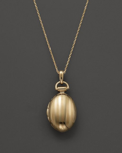 "Monica Rich Kosann | Metallic 18k Yellow Gold Petite Pinstripe Locket Necklace, 17"" | Lyst"