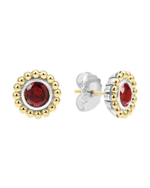 Lagos | Metallic Sterling Silver And 18k Gold Stud Earrings With Garnet | Lyst