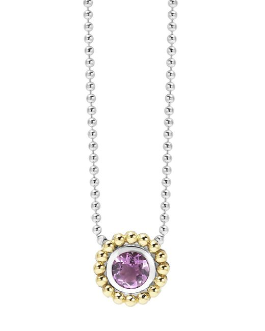 Lagos | Metallic Sterling Silver And 18k Gold Pendant Necklace With Amethyst, 16"