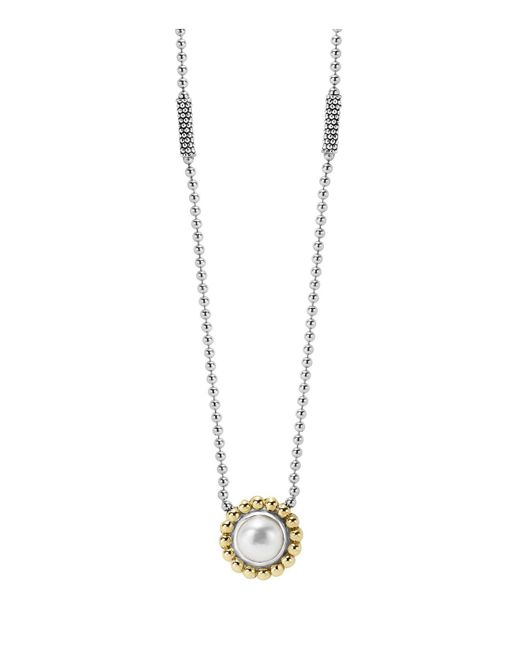 Lagos | Metallic Sterling Silver And 18k Gold Pendant Necklace With Cultured Freshwater Pearl, 16"