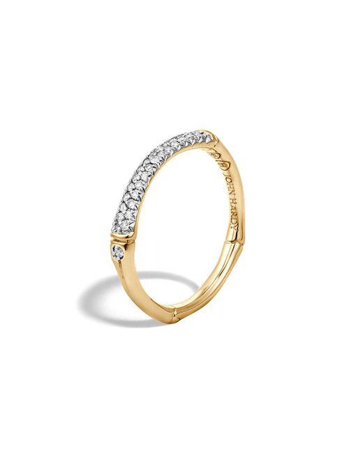 John Hardy | White Bamboo 18k Yellow Gold Diamond Pavé Slim Band Ring | Lyst