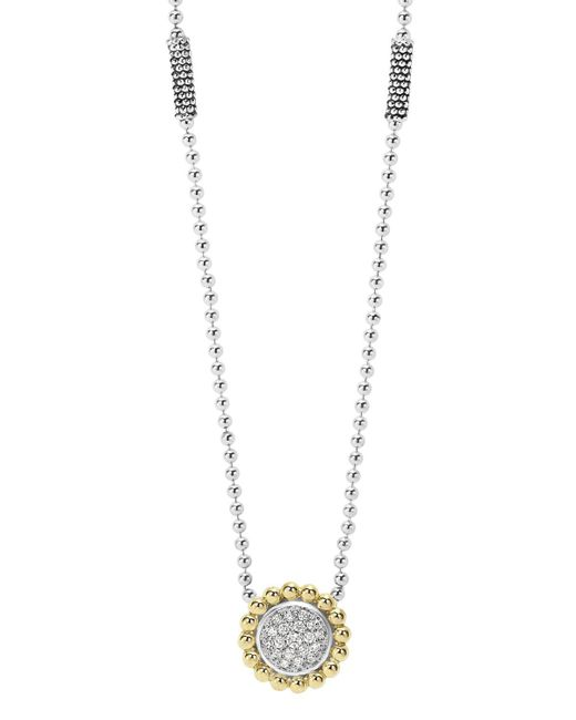 """Lagos   Metallic Sterling Silver And 18k Gold Caviar Pendant Necklace With Diamonds, 16""""   Lyst"""