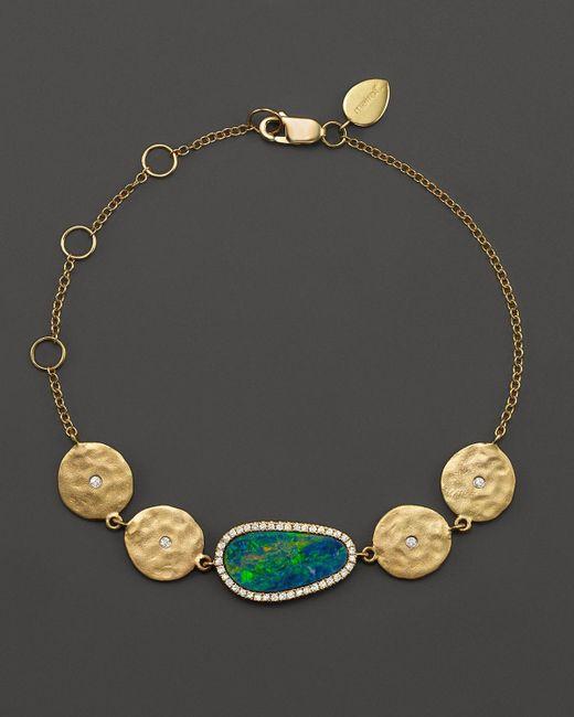 Meira T | Metallic 14k Yellow Gold Opal Disc Bracelet With Diamonds | Lyst