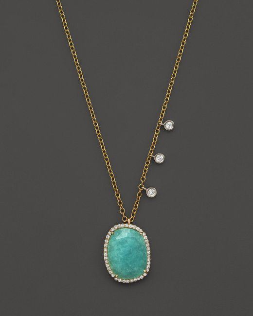 Meira T | Metallic 14k Yellow Gold Amazonite Pendant Necklace With Diamonds, 16"