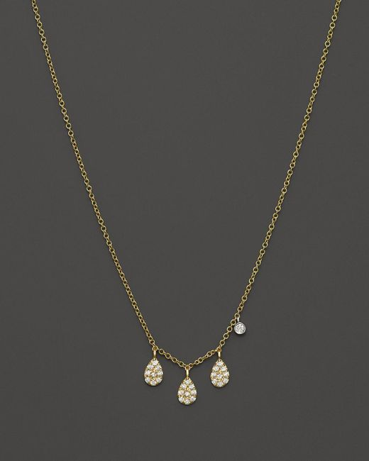 "Meira T | Metallic 14k Yellow Gold Teardrop Pendant Necklace With Diamonds, 16"" | Lyst"