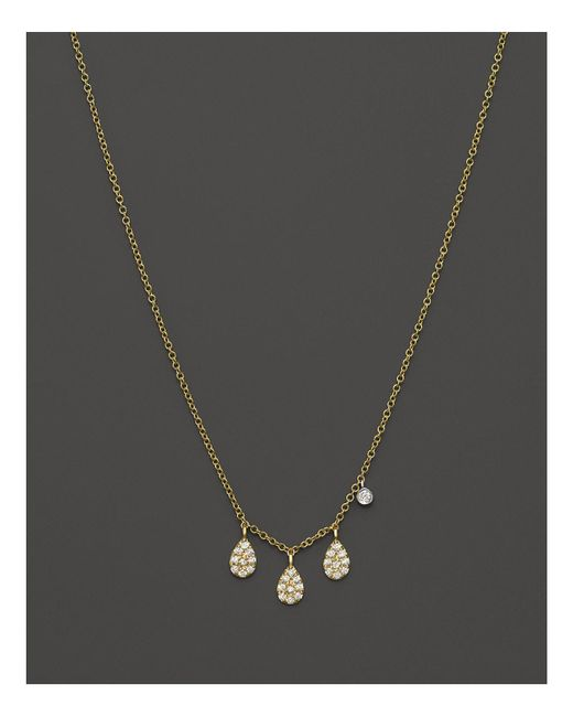Meira T | Metallic 14k Yellow Gold Teardrop Pendant Necklace With Diamonds, 16"