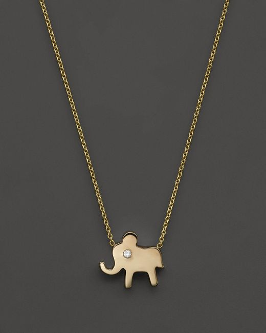 Zoe Chicco | Metallic 14k Gold Elephant Necklace, 16"
