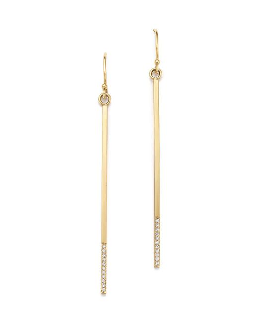 Zoe Chicco | Metallic 14k Long Bar Earrings With Diamonds | Lyst