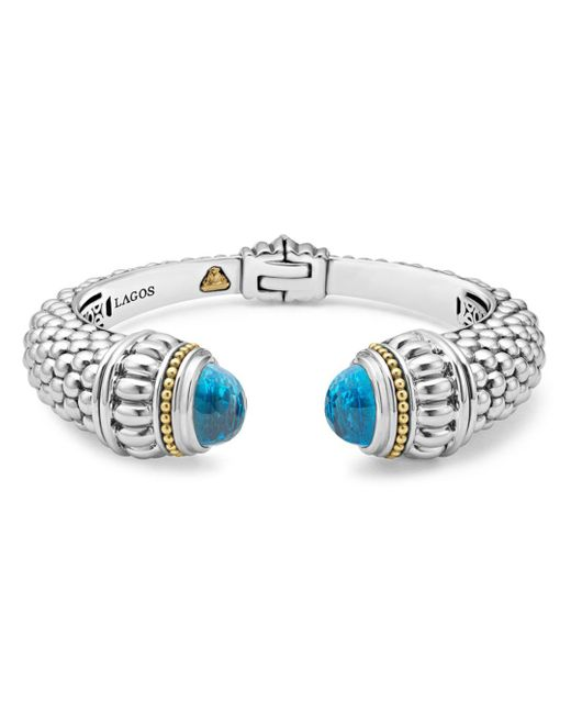 Lagos Multicolor 18k Gold And Sterling Silver Caviar Color Swiss Blue Topaz Cuff