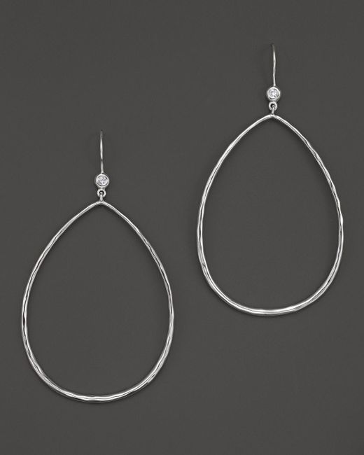Ippolita | Metallic Sterling Silver Large Open Teardrop Earrings With Diamonds | Lyst