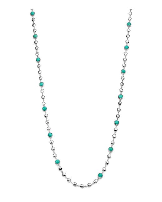 Ippolita | Metallic Rock Candy Long Multi Stone And Flat Hammered Bead Necklace In Turquoise, 36"