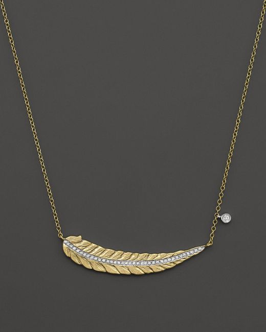 Meira T | Metallic 14k Yellow Gold Curved Leaf Necklace With Diamonds, 16"