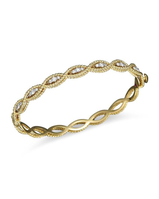 Roberto Coin | Metallic 18k Yellow Gold New Barocco Diamond Bangle | Lyst