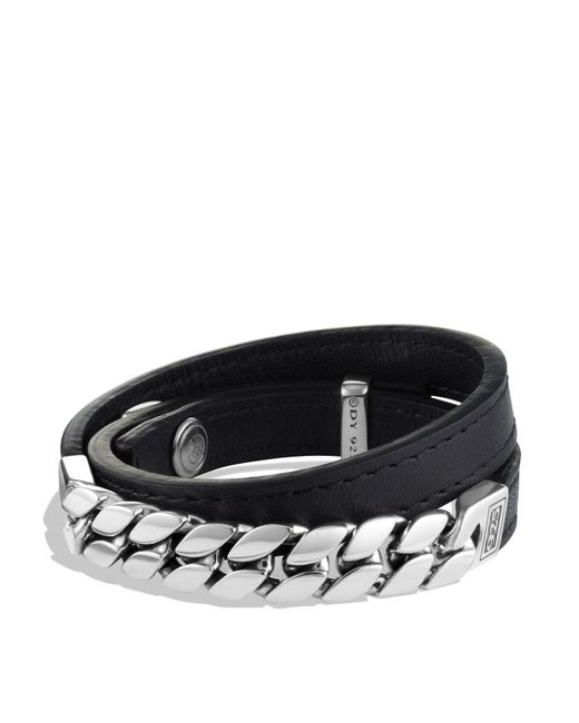 David Yurman | Metallic Chain Double Wrap Leather Bracelet for Men | Lyst