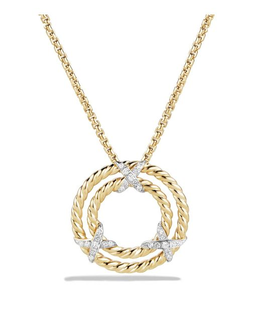 David Yurman | Metallic X Circle Pendant Necklace With Diamonds In 18k Yellow Gold | Lyst