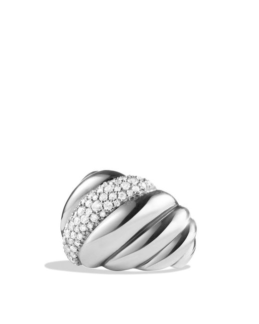David Yurman   White Hampton Cable Ring With Diamonds   Lyst