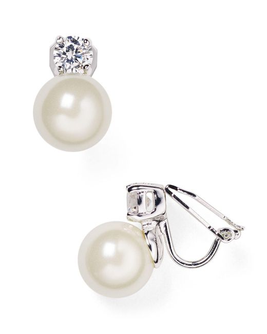 Ralph Lauren | Metallic Lauren Faux Pearl Clip-on Earrings | Lyst