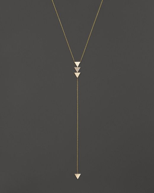 """Zoe Chicco   Metallic 14k Gold 4-triangle Lariat Necklace With Diamonds, 18"""" - 100% Bloomingdale's Exclusive   Lyst"""