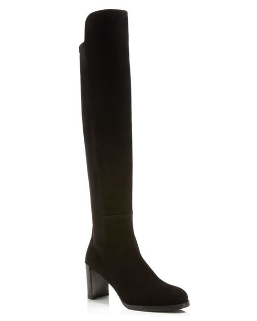Stuart Weitzman | Black Lowjack Stretch High Shaft Mid Heel Boots | Lyst