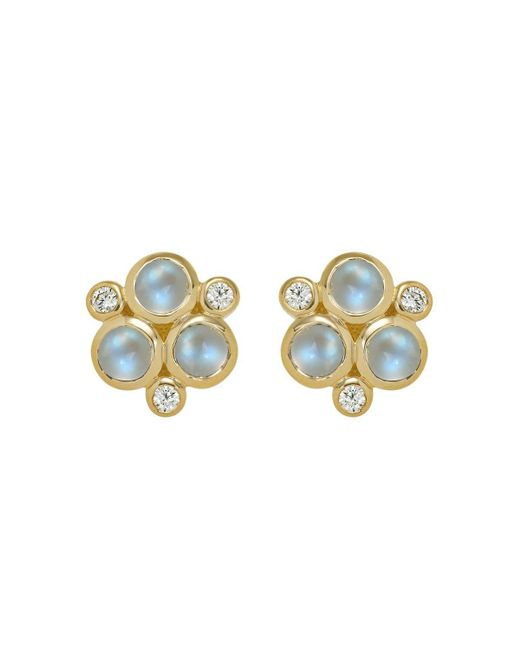 Temple St. Clair   Classic Trio Earrings With Royal Blue Moonstone And Diamonds In 18k Yellow Gold   Lyst