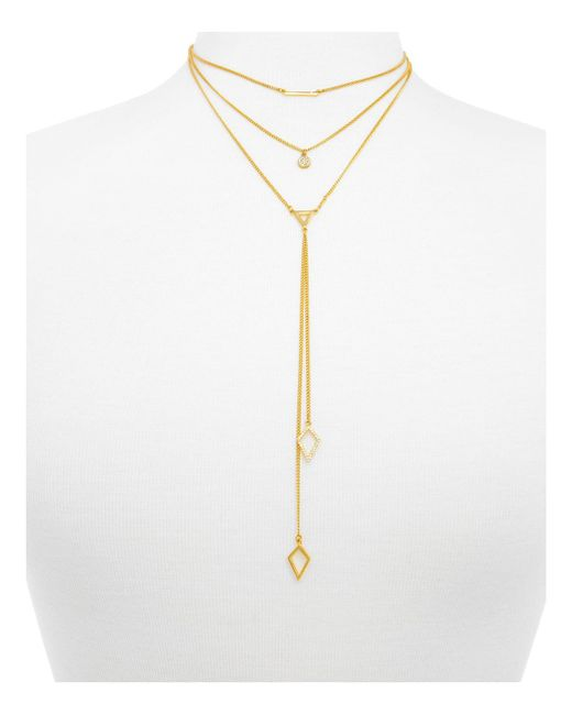 BaubleBar | Metallic Facets Layered Necklace, 14"