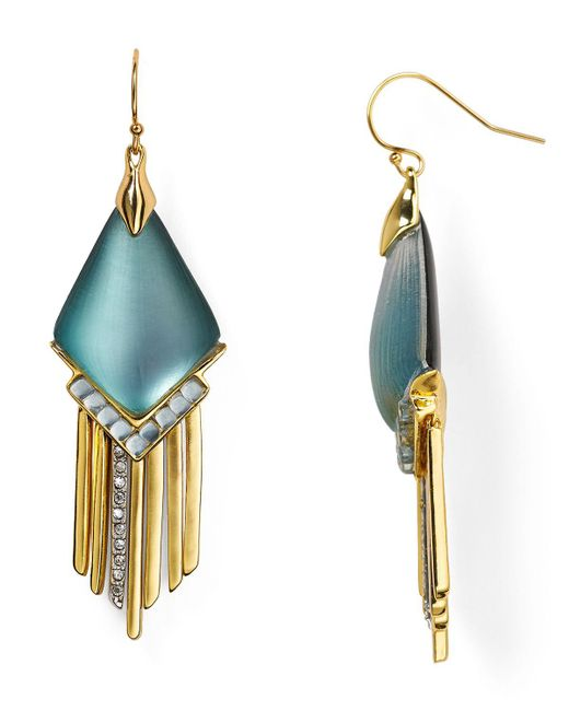 Alexis Bittar   Metallic Lucite Fringed Chevron Cabochon Chandelier Earrings   Lyst