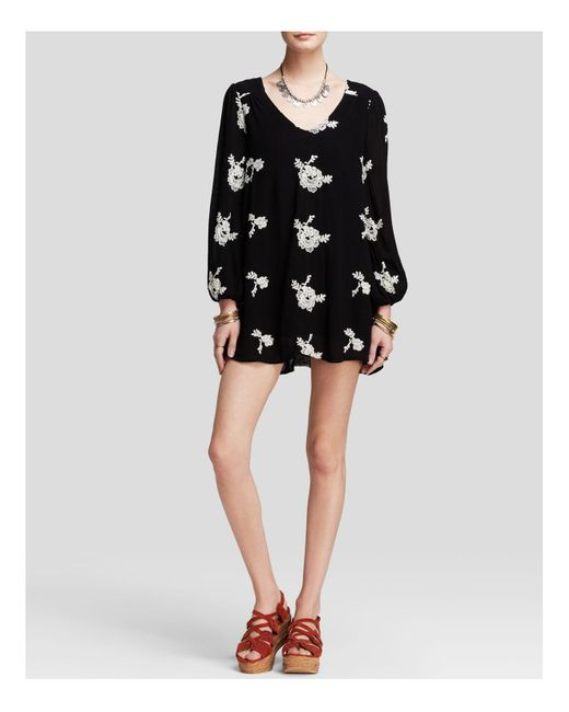 Free People | Black Emma's Embroidered Dress | Lyst