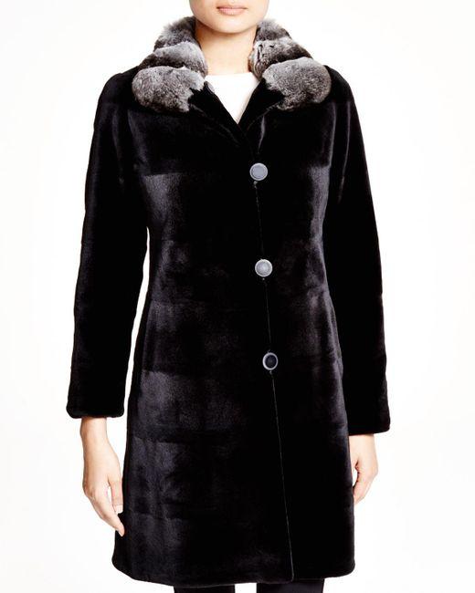 Maximilian | Black Maximilian Sheared Mink Reversible Coat With Chinchilla Collar - 100% Exclusive | Lyst
