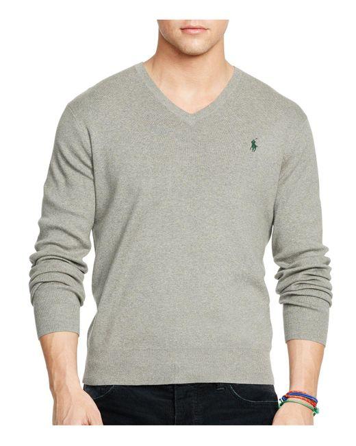 Polo Ralph Lauren   Gray Pima V-neck Sweater for Men   Lyst