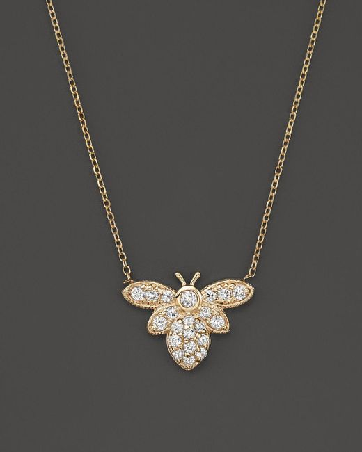 "KC Designs | Metallic Diamond Bumble Bee Pendant Necklace In 14k Yellow Gold, 16"" - 100% Exclusive 