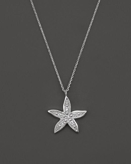 "KC Designs | Metallic Diamond Starfish Pendant Necklace In 14k White Gold, 16"" | Lyst"