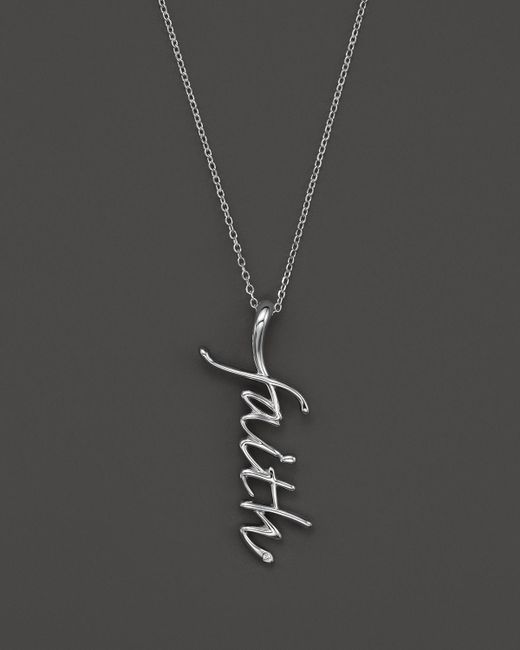 "KC Designs | Metallic ""faith"" Pendant Necklace With Diamond Accent In 14k White Gold, 16"" - 100% Exclusive 
