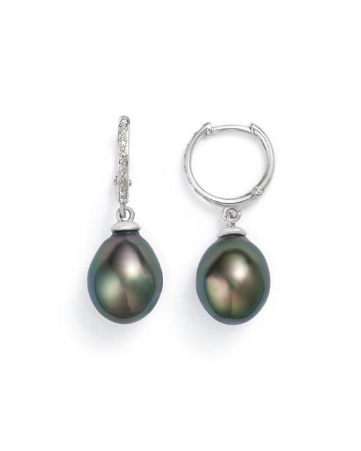 Tara Pearls | Metallic 14k White Gold Natural Color Tahitian Cultured Pearl Hoop Drop Earrings | Lyst