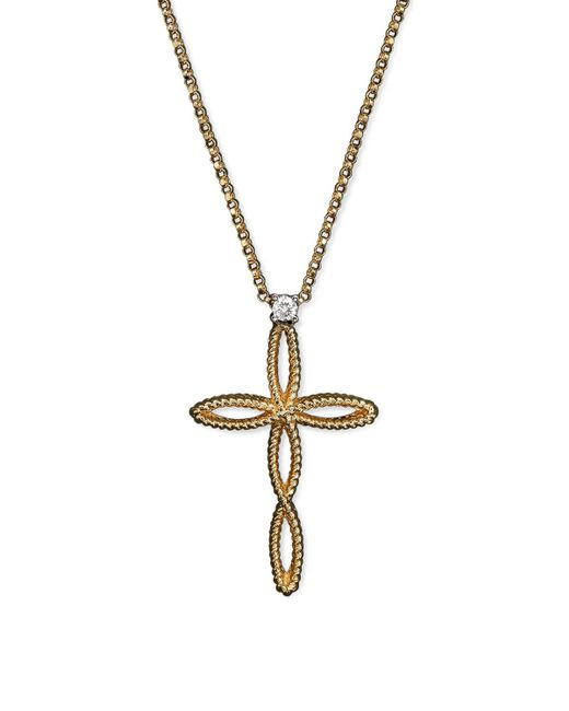 Roberto Coin | Metallic Braided Barocco Diamond Cross Pendant Necklace In 18k Yellow And White Gold, 16"