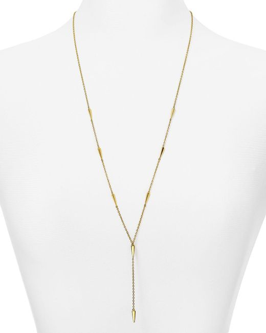 Elizabeth and James | Metallic Signature Miro Y Necklace, 28"