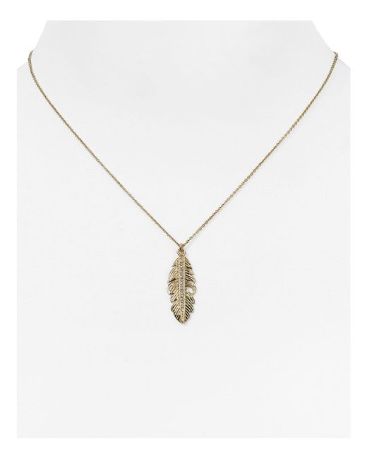 Melinda Maria | Metallic Nina Feather Pendant Necklace, 16"