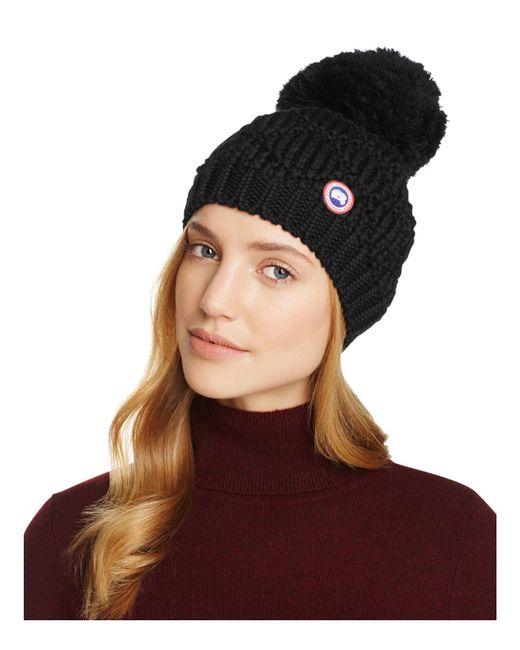 Canada Goose | Black Merino Wool Beanie With Oversized Pom-pom | Lyst