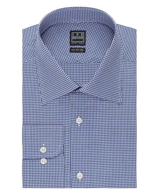 Ike Behar   Blue Mini Check Classic Fit Dress Shirt for Men   Lyst