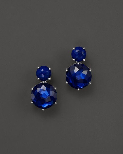 Ippolita   Blue Sterling Silver Rock Candy 2 Stone Post Earrings In Lapis And Midnight   Lyst