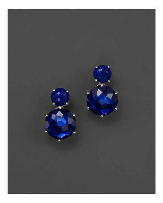 Ippolita | Blue Sterling Silver Rock Candy 2 Stone Post Earrings In Lapis And Midnight | Lyst