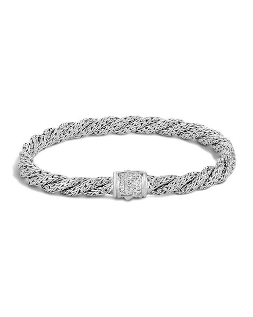 John Hardy | White Classic Chain Sterling Silver Extra Small Flat Twisted Chain Bracelet With Diamond Pave | Lyst