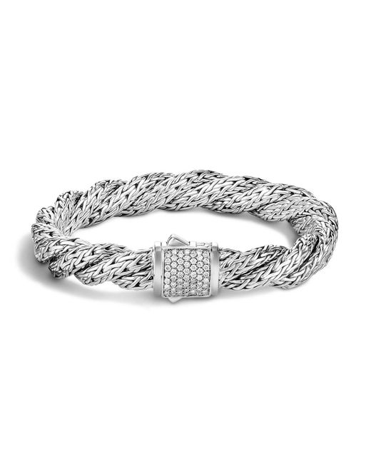 John Hardy | White Classic Chain Sterling Silver Medium Flat Twisted Chain Bracelet With Diamond Pave | Lyst