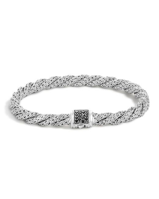 John Hardy | Metallic Classic Chain Sterling Silver Lava Extra Small Flat Twisted Chain Bracelet With Black Sapphire | Lyst
