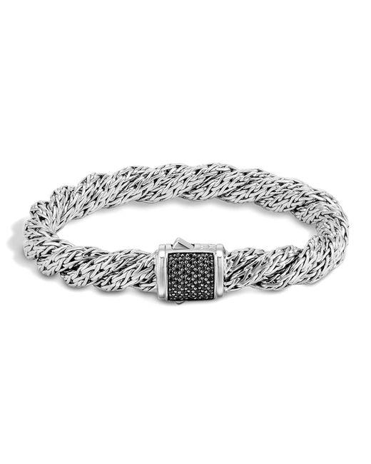 John Hardy   Metallic Classic Chain Sterling Silver Lava Medium Flat Twisted Chain Bracelet With Black Sapphire   Lyst