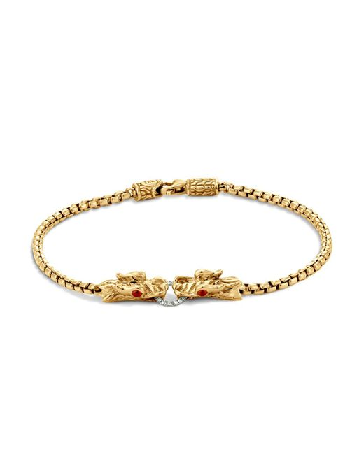 John Hardy | Metallic Naga 18k Yellow Gold Box Chain Bracelet With Diamonds And African Ruby Eyes | Lyst