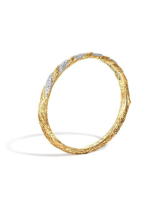 John Hardy | Metallic Classic Chain 18k Gold Diamond Pave Hinged Bangle | Lyst